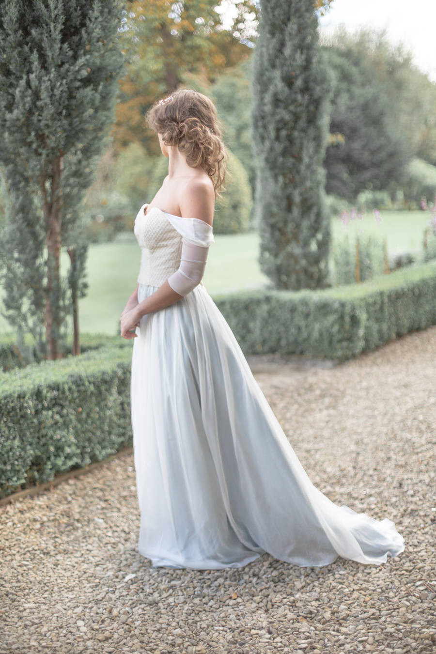 Off the shoulder sleeves on your wedding dress Jessica Turner Designs