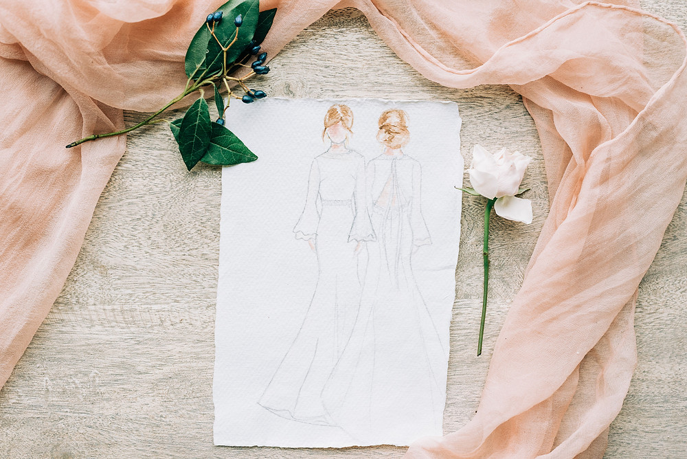 Jessica Turner Designs creates her collections on paper to reduce the use of raw materials and to support slow bridal fashion.