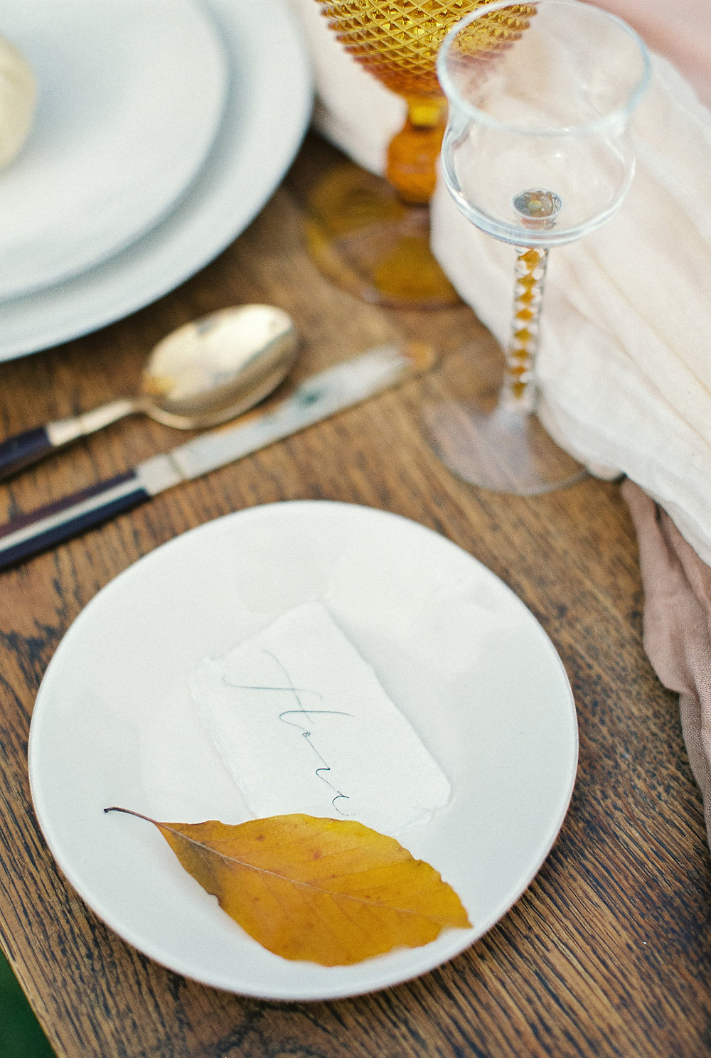 Autumn leaves for a place setting at a wedding on Jessica Turner Designs blog