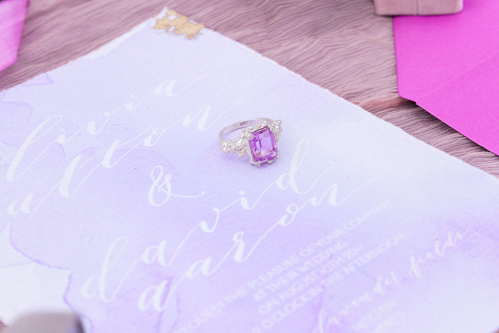 Lilac jewellery for a lavender styled shoot