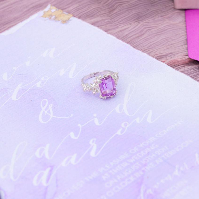 Lilac diamond engagement ring