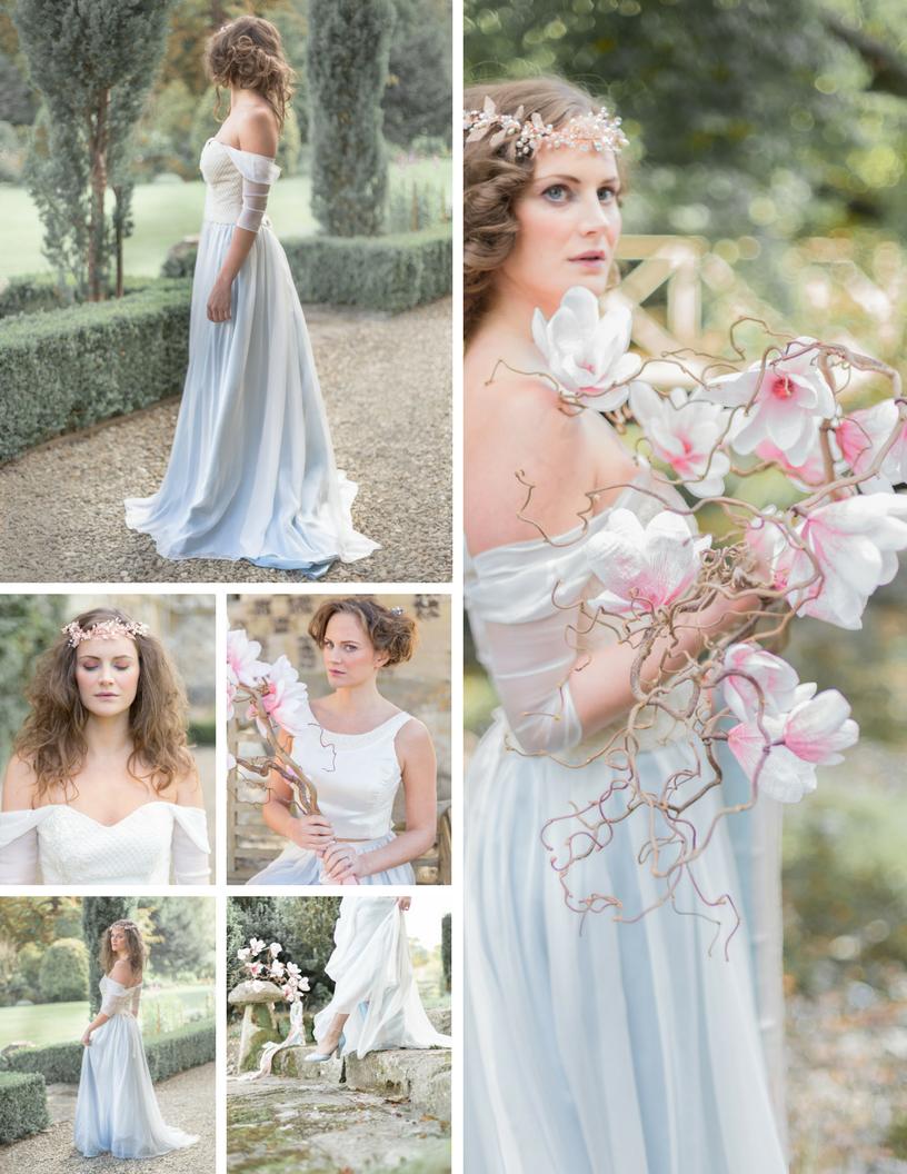 magnolia bouquet and romantic bridal style, off the shoulder bridal dress