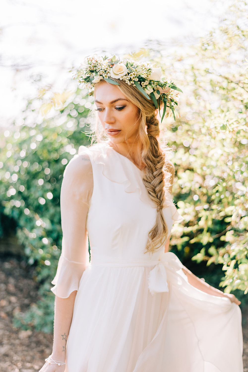 Boho wedding dress that is ethical Jessica Turner Designs, made partly bamboo and silk