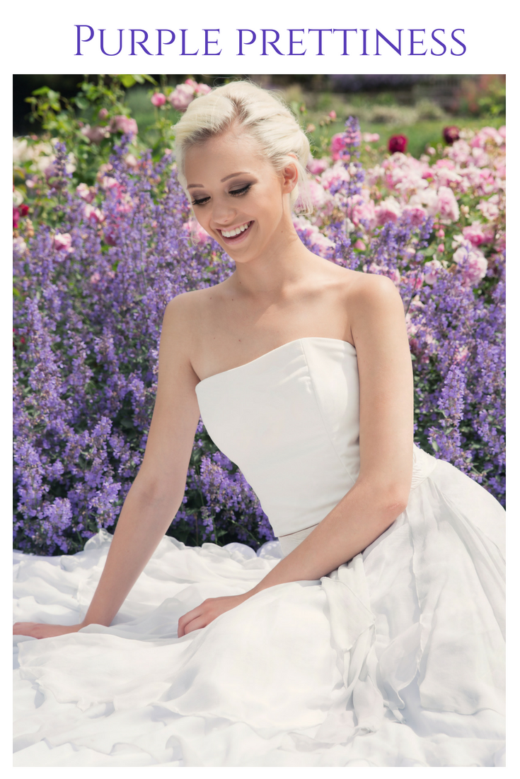 Purple wedding inspiration by Jessica Turner Designs.  White bridal bodice and a full dip dyed bridal skirt.