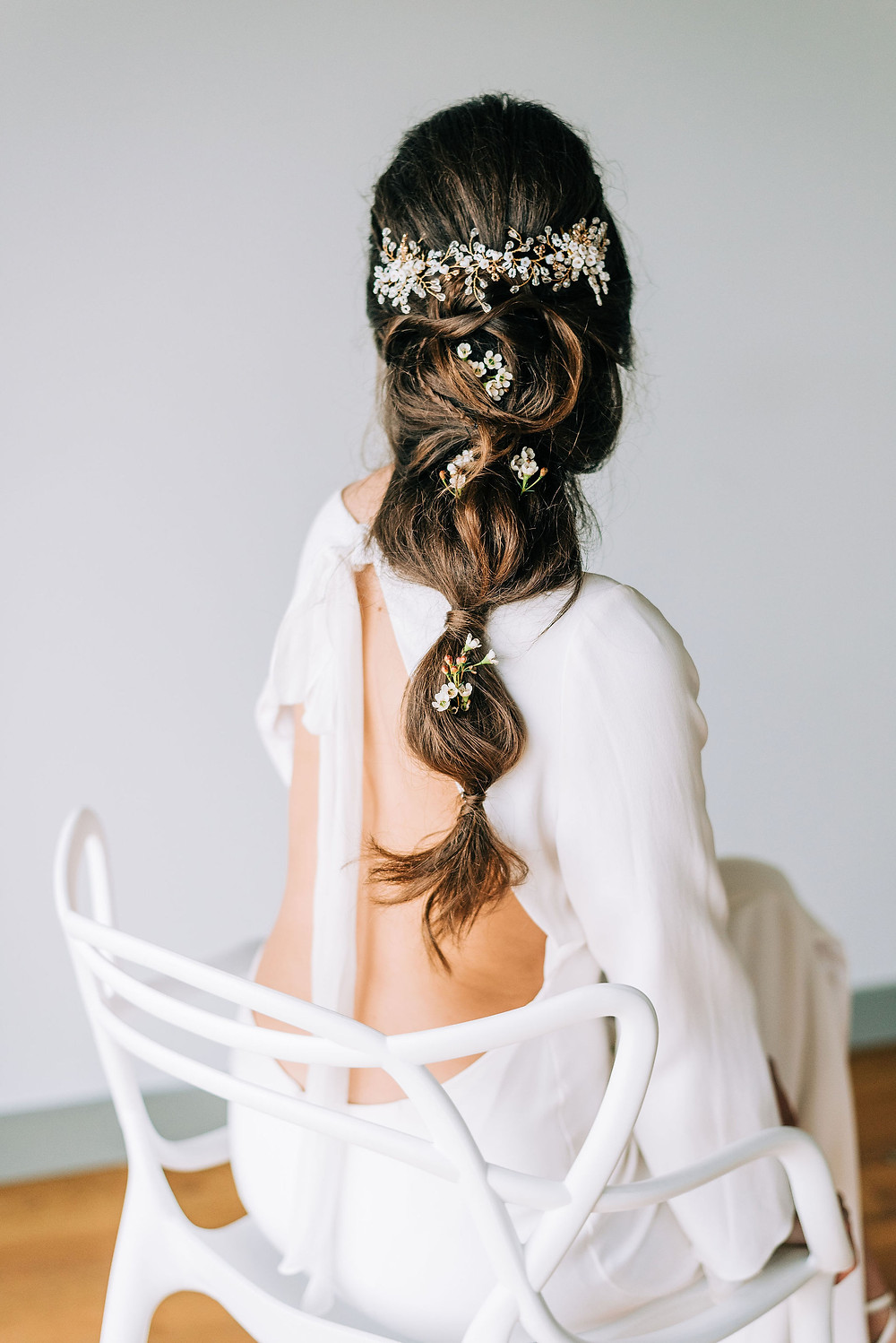 boho wedding dress with low back wedding dress and with Clare Lloyd accessories