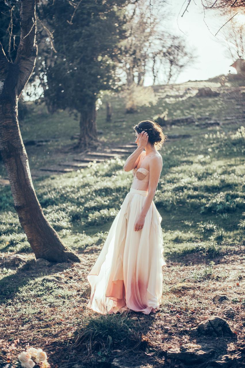 Dip dyed bridal Skirt