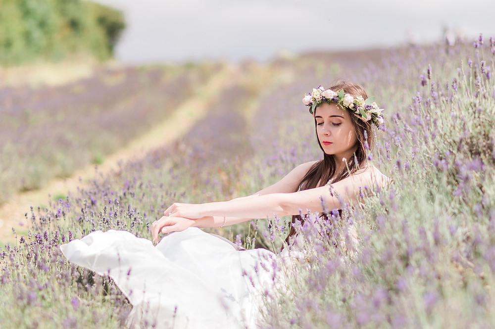 boho flower crown and boho bride wearing Jessica Turner Designs