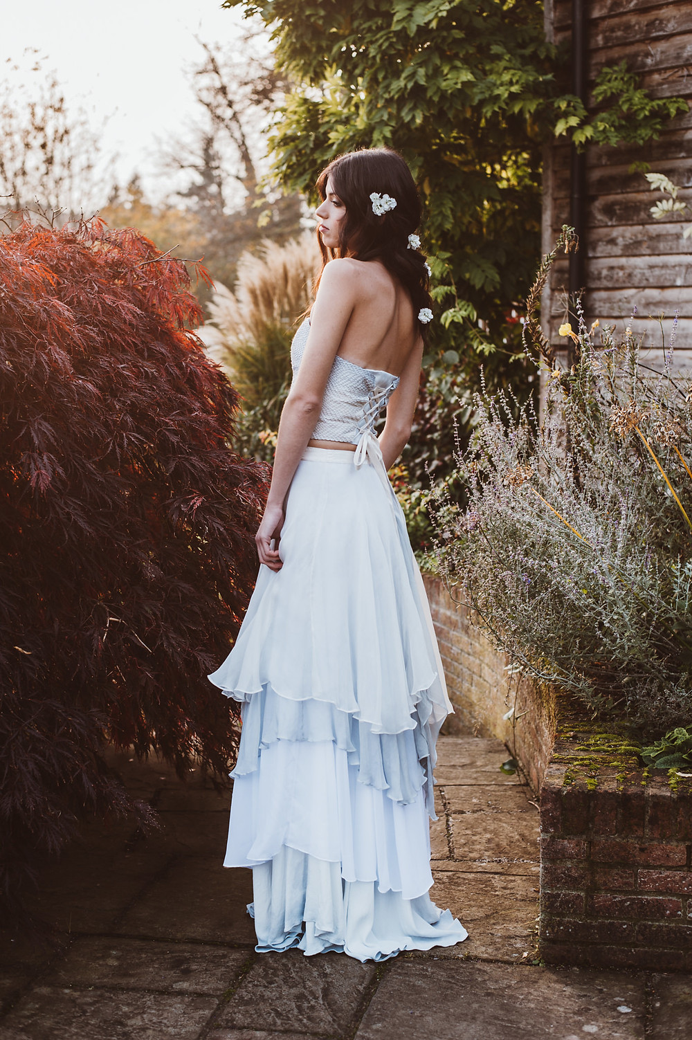 Dip dyed blue wedding dress by Jessica Turner Designs.