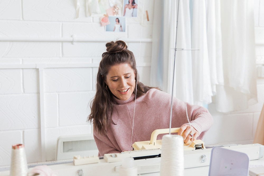 Jessica Turner Designs knitting on a knitting machine