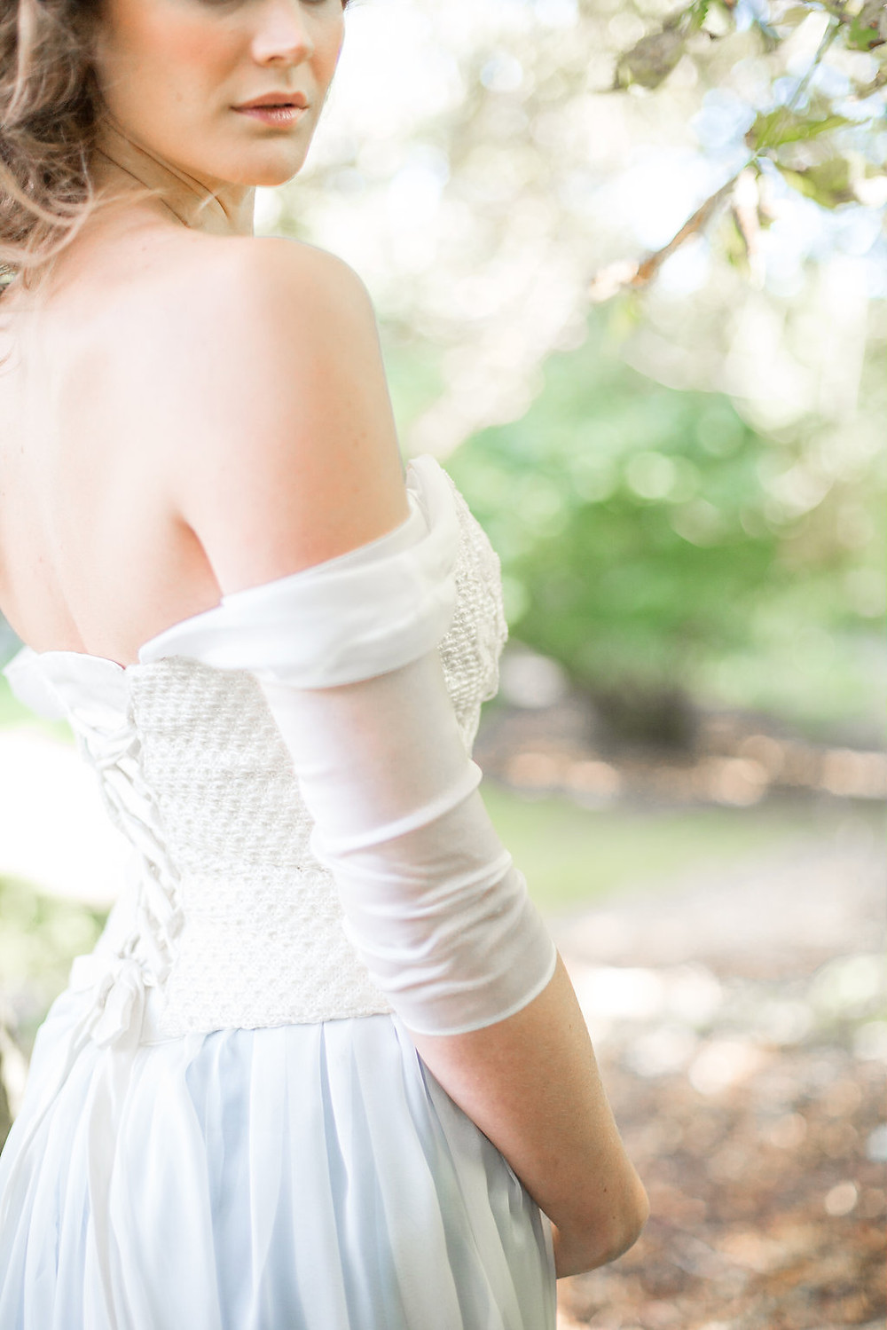 bridal separates off the shoulder sleeves