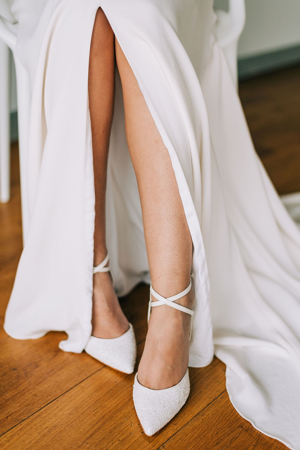 Modern wedding dress by Jessica Turner Designs wearing Charlotte Mills bridal shoes