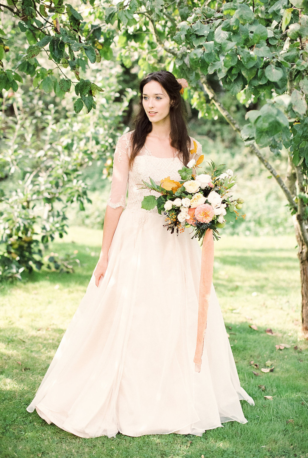 Jessica Turner Designs Autumn Wedding Inspiration, peach wedding dress for the untraditional bride