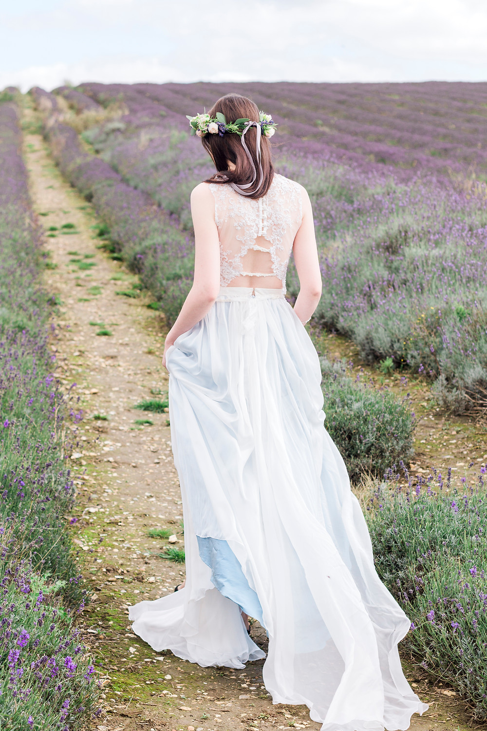 Bridal separates by Jessica Turner Designs.  Lavender styled shoot for a boho bride