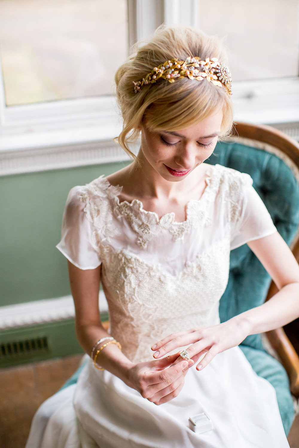 A Romantic Bride, bridal separates, knitted bodice and lace wedding dress