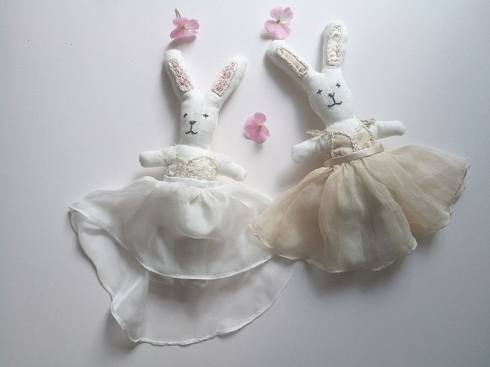 bride bunny handmade bunny rabbit from 100% linen