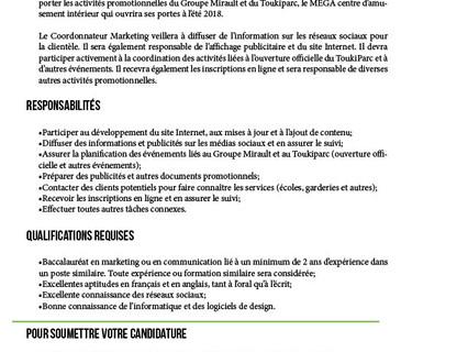Coordonnateur marketing Employeur-Groupe Mirault