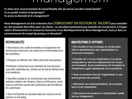 Consultant en gestion de talents Employeur-Novo Management
