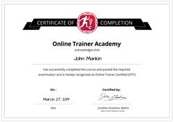 OTA certificate