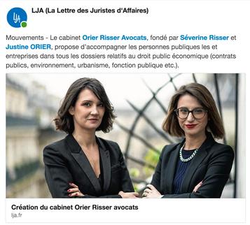 La LJA annonce la création du cabinet Orier Risser Avocats