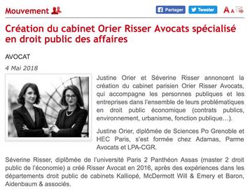Dalloz Actualités annonce la création du cabinet Orier Risser Avocats