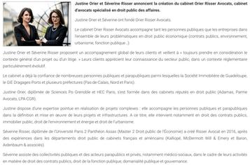 Le Monde du Droit annonce la création du cabinet Orier Risser Avocats