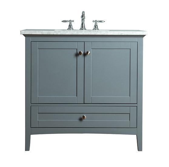 """Tower Modern 36"""" Grey Single Sink Vanity"""