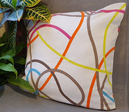 Arapawa Wool Cushion Inner with Squiggly Lines Cover