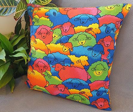 Arapawa Wool Cushion Inner with Bright Sheep Cover