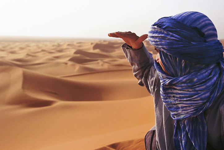 Man Looking at the Dunes Hassan observes the path traveled during a journey across the desert dunes. ©David Arnoldi
