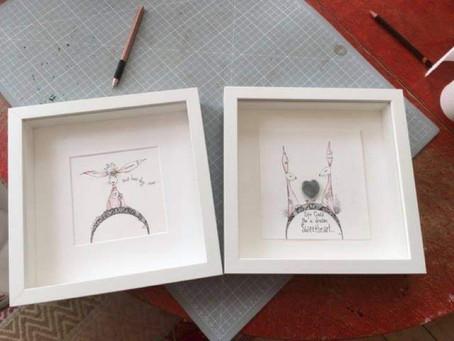 New Art Auction framed original ink drawings from Scottish artist and designer, Jilly Henderson.