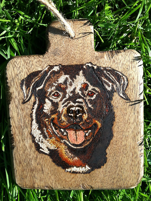 4 X 4.5 in. Acacia Wood Mini Bread Board Etched & Hand Colored Portrait.