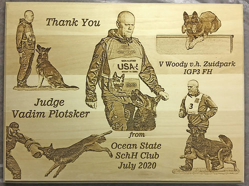 9 X 12 in. Rectangular Basswood Plaque with Custom Photo Engraved Images.