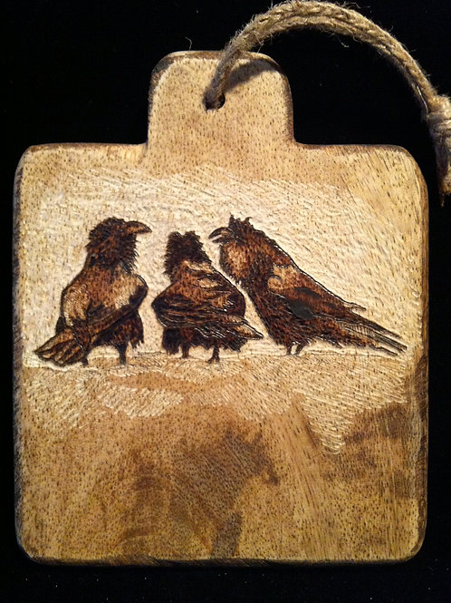 4.5 x 4 in. Mini Bread Board with Wood Burned & Etched Wildlife Image