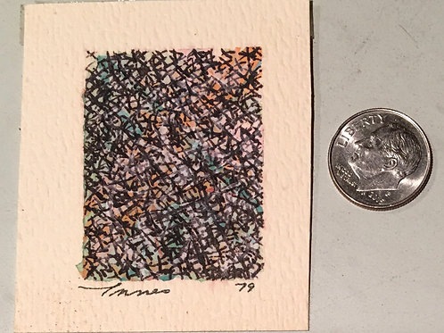 """1.50 in X 1.25 in """"Night Fog"""" Mini Abstract Painting."""