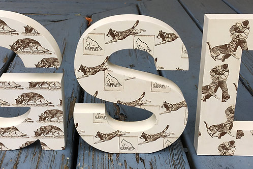 7 in. Tall X 1 in. Thick Free Standing Letters with Laser Etch Images.