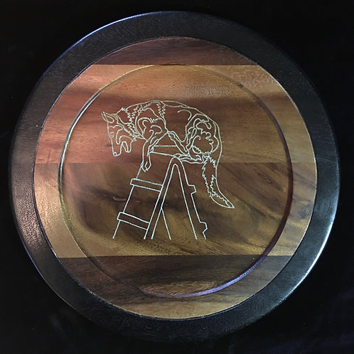 13 in diameter Acacia Charger - White Outline Etch of GSD over wall only 1 avail