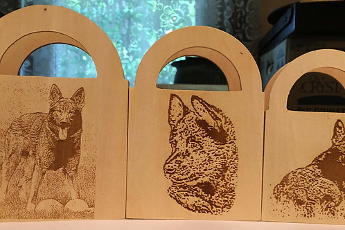 3 Decorative Wood Nesting Boxes with Laser Etch Images.