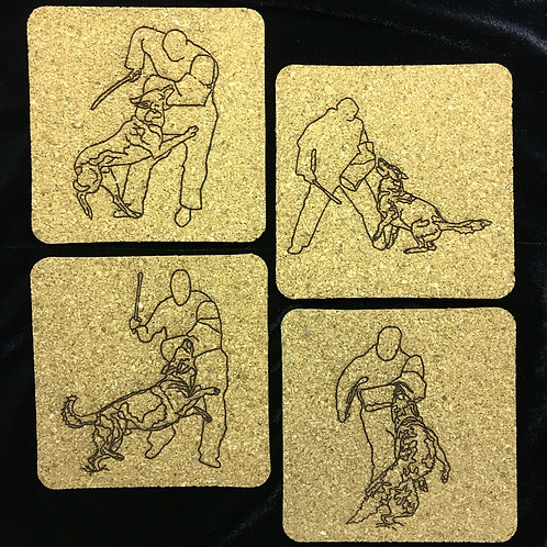 Set of 4 Square or Round Cork Coasters with Outline Laser Images.