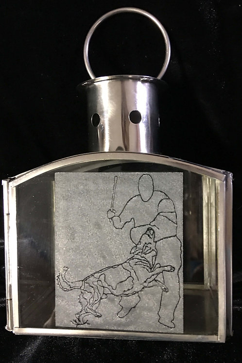 6 X 4 in Mini Lantern with Outline Etch of Protection Drive.