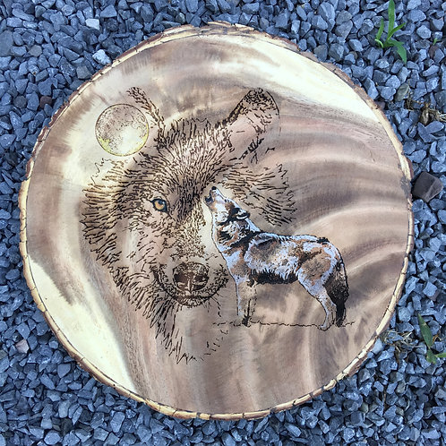 12 in diameter Acacia round Wolf Howl Etch with Color Accents