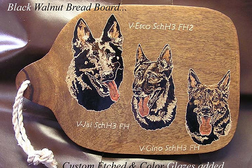Medium Size Bread Board Portrait Etched with Color Glazes Added.