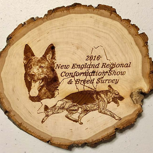 6 in. Diameter Natural Bark Edge Basswood Round with Laser Etch Image.