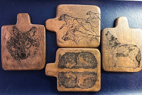 3.75 in x 3.75 in Set of 4 Mini Bread Board Coasters - Wildlife Etch Images.