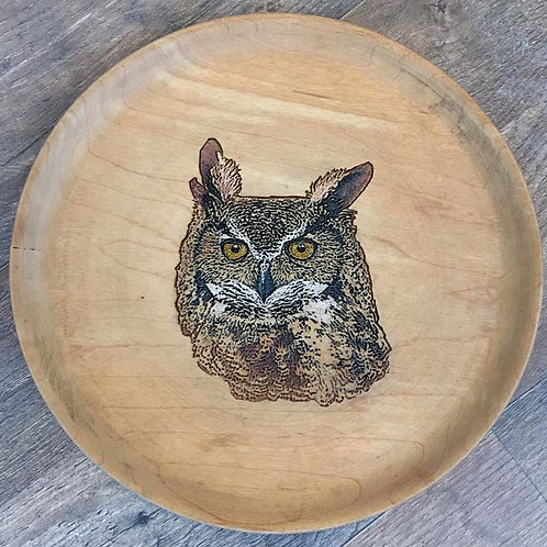 8.5 in diameter primitive maple plate - Great Horned Owl - Etch & Full Color
