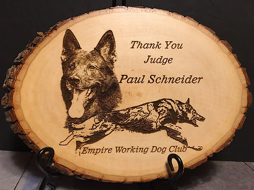 12 in. Diameter Natural Bark Edge Basswood Round with Laser Etched Image.