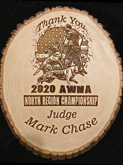 12 in. diameter Bark Edge Bass Wood Round w Custom Engraved Image