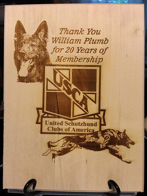 8 X 10 in. Rectangular Basswood Plaque with Laser Etched Image.