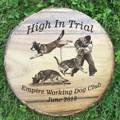 12 in. Diameter Acacia Wood Natural Bark Edge Round with Laser Etched Image.