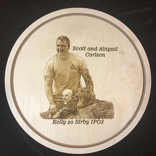 3/4 in. thick, 12 in. diameter Baltic Birch Float Panel w custom photo engraving