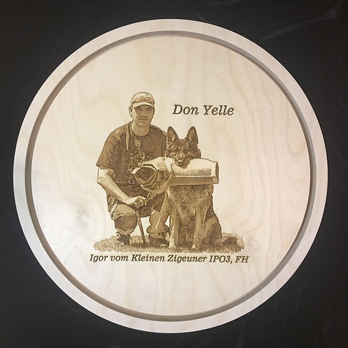 3/4 in. thick, 8 in. diameter Baltic Birch Float Panel w custom photo engraving